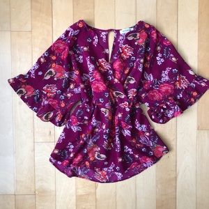 Floral and Birds Magenta Top with Cinch Waist